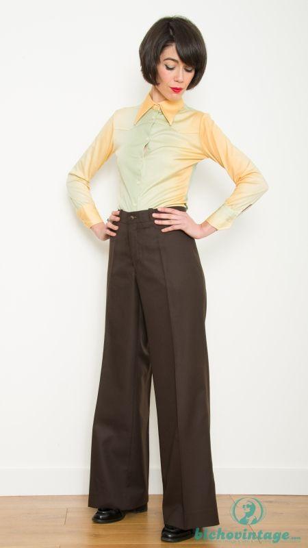 Pantalon Vintage 60 70s Pata De Elefante Marron Terlenka Bichovintage Tienda Online De Ropa Vintage Y Retro
