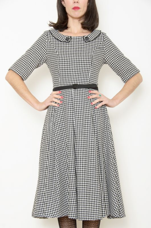 Vintage-Inspired 50´s Rockabilly Swing Houndstooth Dress - 3