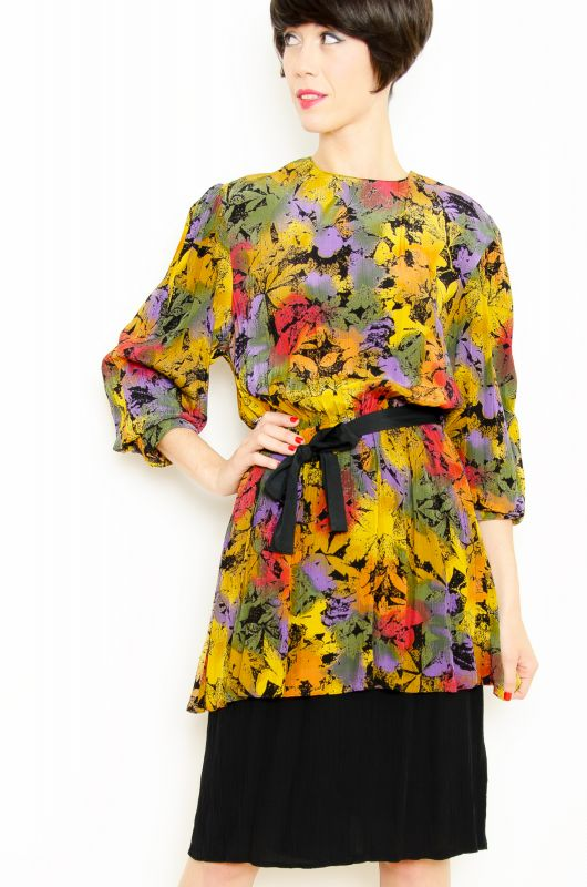 Vintatge 80s Peplum Floral Abstract Dress Size L - 2
