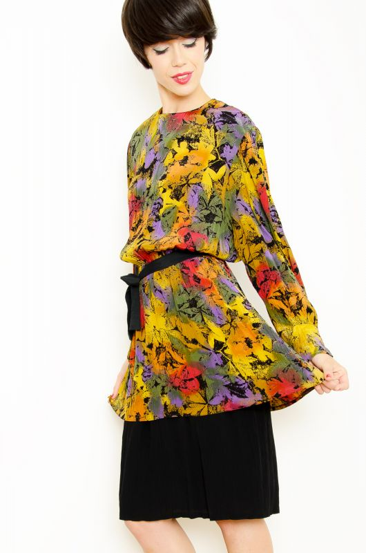 Vintatge 80s Peplum Floral Abstract Dress Size L - 1
