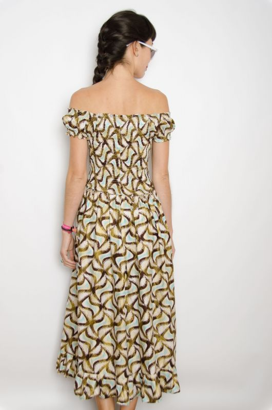 Vestido Maxi Vintage 70s Hippy Boho Abstract Talla M - 4