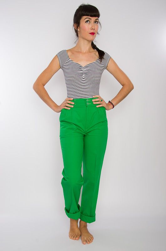 Vintage 80s High Waist Cotton Pants Green - 2