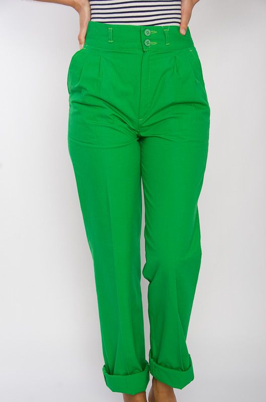Vintage 80s High Waist Cotton Pants Green - 1
