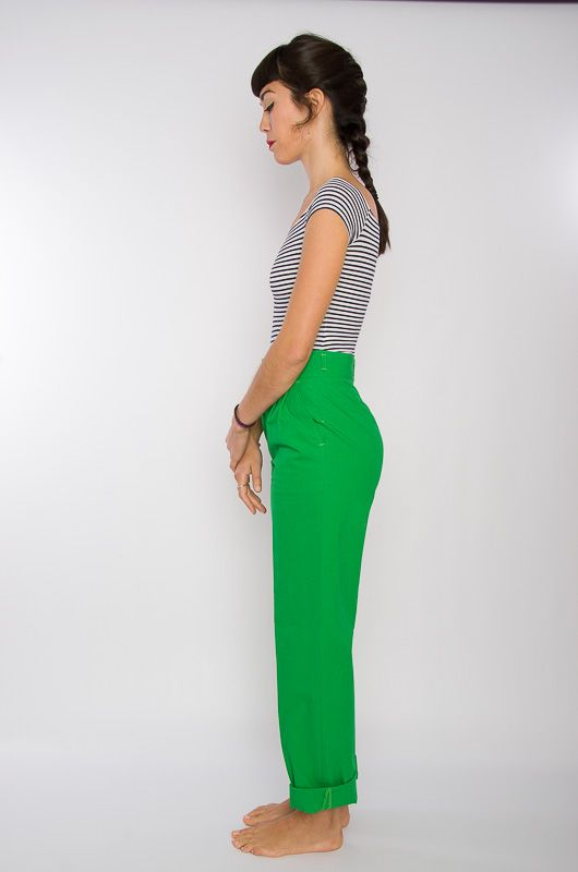 Vintage 80s High Waist Cotton Pants Green - 3