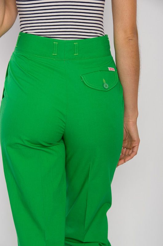 Vintage 80s High Waist Cotton Pants Green - 4