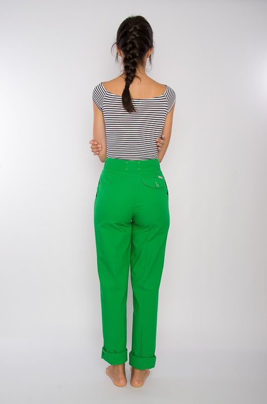 Vintage 80s High Waist Cotton Pants Green - 5