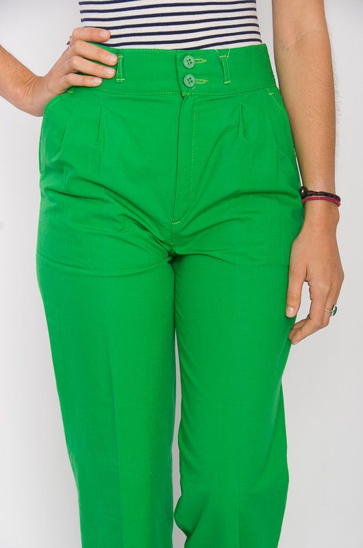 Vintage 80s High Waist Cotton Pants Green - 6