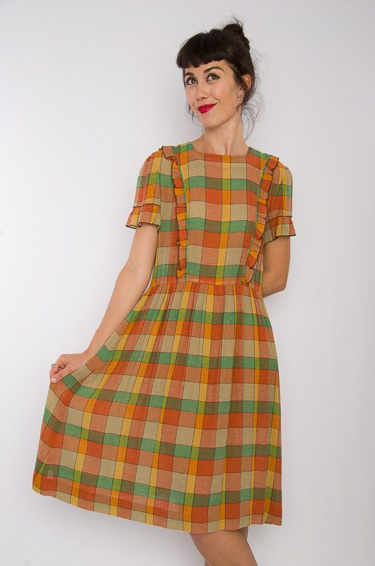 Vintage 70s HQ Checkered Dress Size M - Bichovintage - Online vintage and retro clothing store