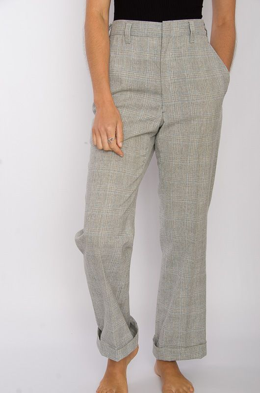 Vintage 70s Neck Checkered Gray Pants Size L - 1