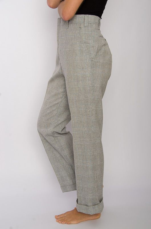 Vintage 70s Neck Checkered Gray Pants Size L - 3