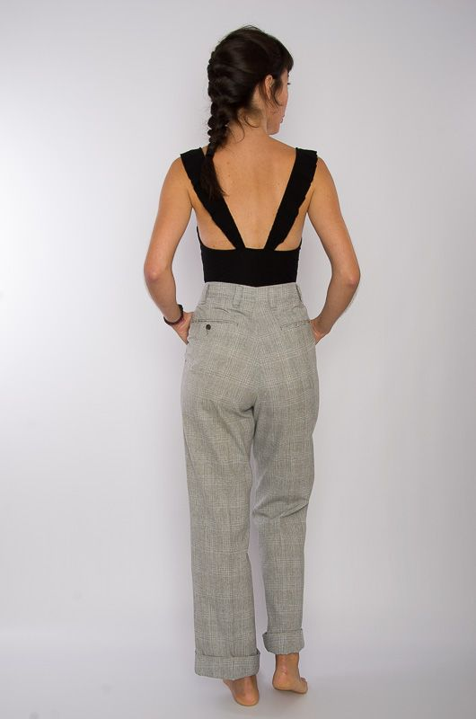 Vintage 70s Neck Checkered Gray Pants Size L - 4