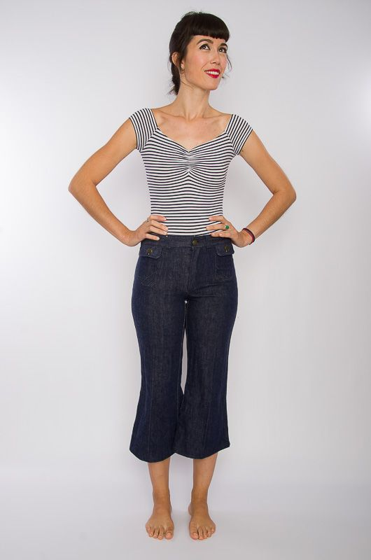 Jeans Vaqueros Vintage 60-70s Cropped Flare Talla S - 2