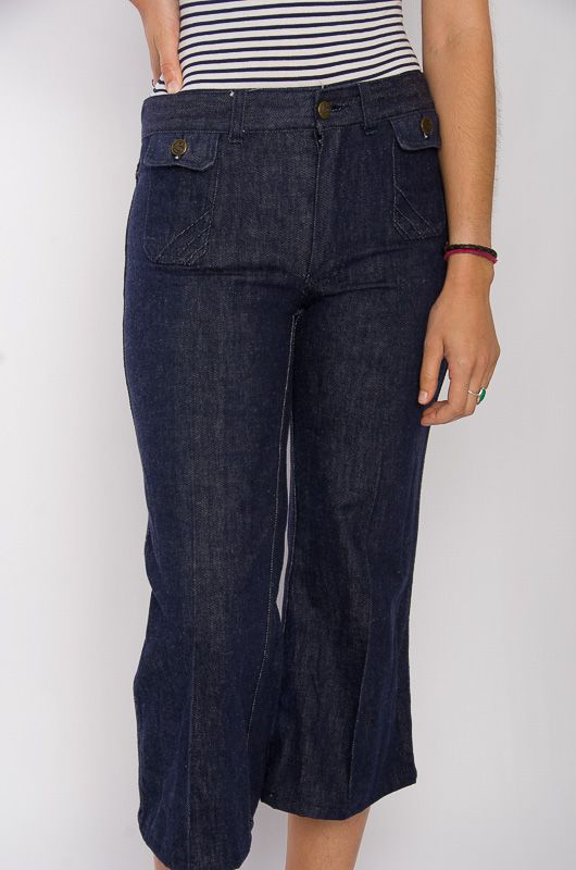 Jeans Vaqueros Vintage 60-70s Cropped Flare Talla S - 1