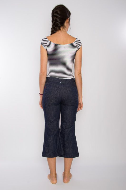 Jeans Vaqueros Vintage 60-70s Cropped Flare Talla S - 4