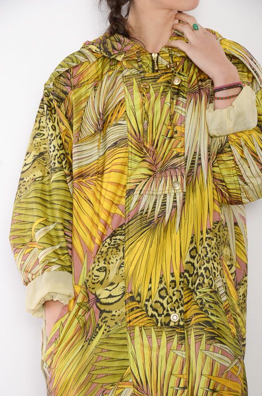Vintage 90s RainCoat Animal Print Oversize - 2