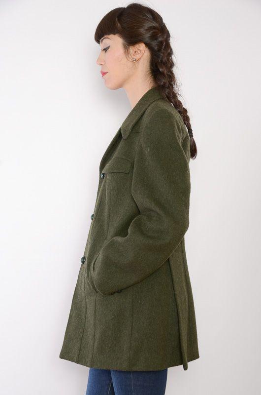 Abrigo Vintage 70s Militar Verde Masculino Talla L