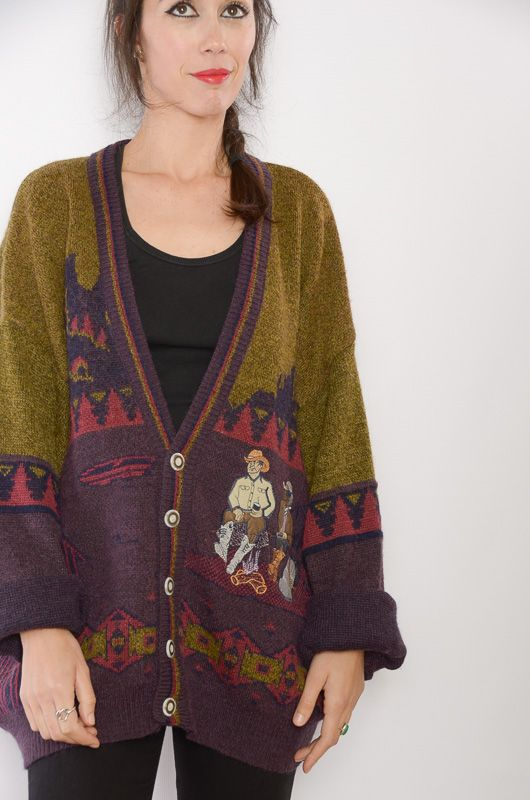 Cardigan Vintage 80s Rodeo Oversize - 1