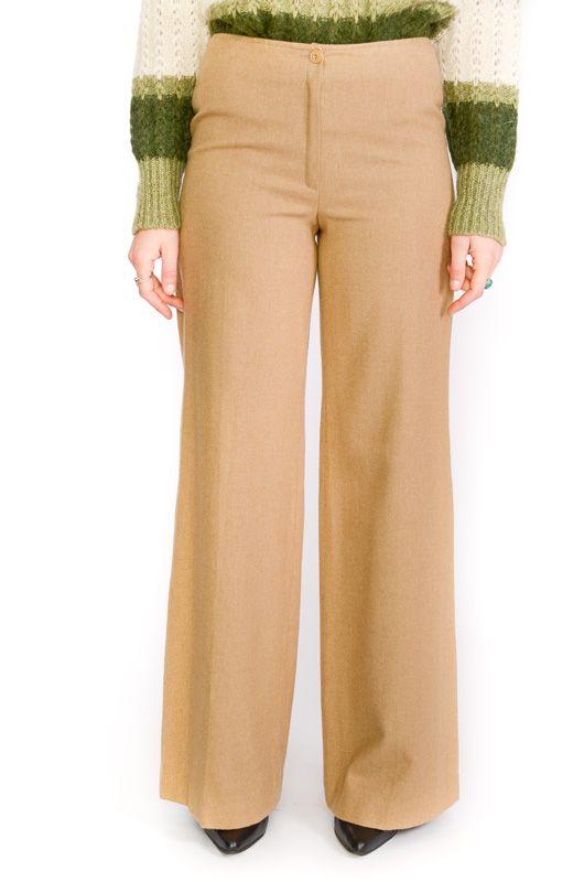 Pantalon Vintage 60 70s Pata De Elefante Lana Beis Bichovintage Tienda Online De Ropa Vintage Y Retro