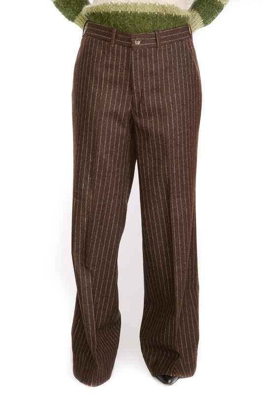 Vintage Pants 60-70s Flare Pinstripe Brown Size XL - 1