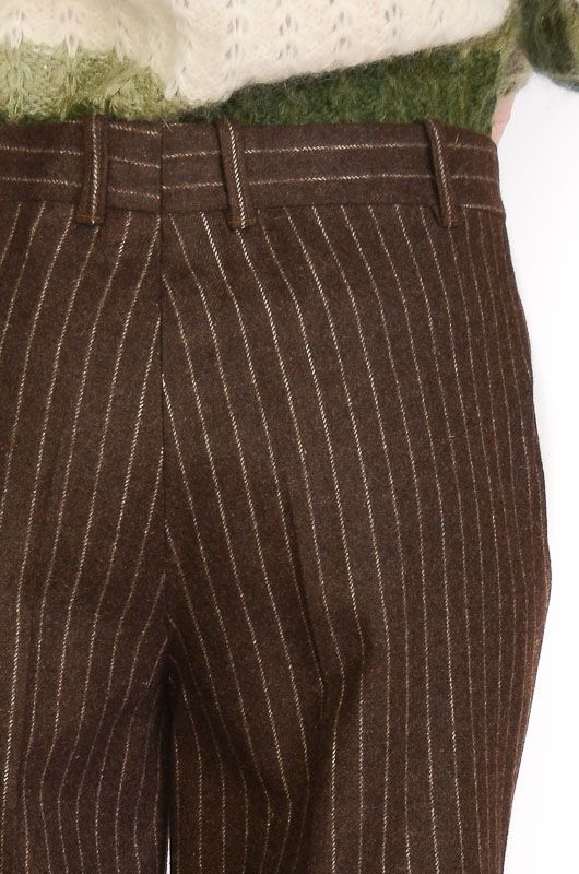 Vintage Pants 60-70s Flare Pinstripe Brown Size XL - 3