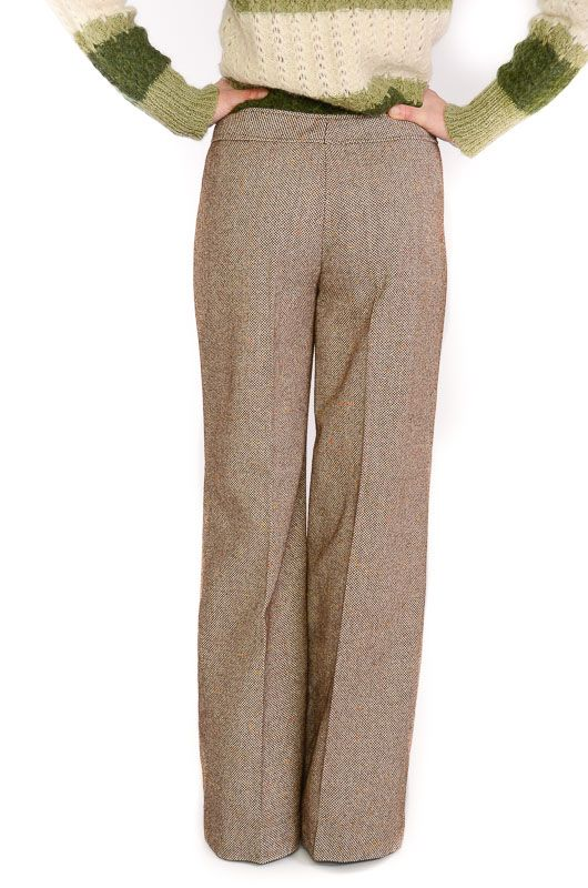 VINTAGE TROUSERS 60-70S BELL BOTTOM BROWN MIX SIZE L - 4