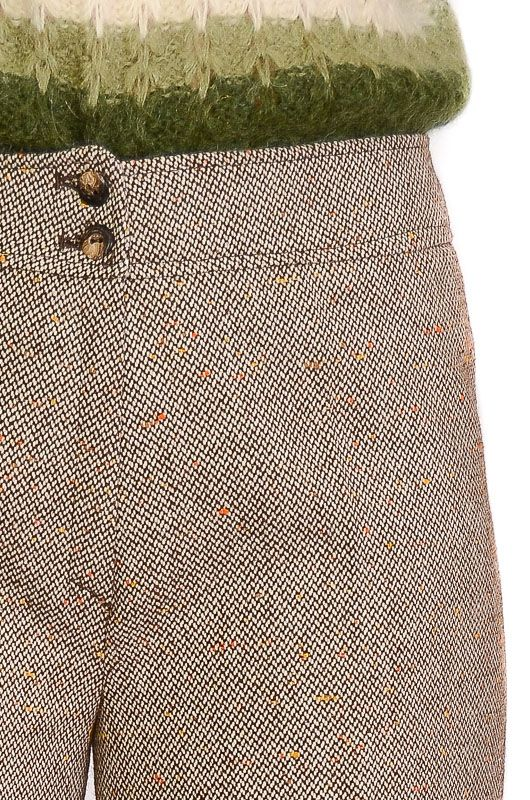 VINTAGE TROUSERS 60-70S BELL BOTTOM BROWN MIX SIZE L - 5
