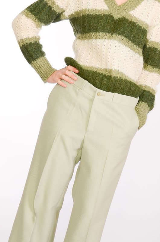VINTAGE TROUSERS 60-70S BELL BOTTOM LIGHT GREEN TERGAL - 1