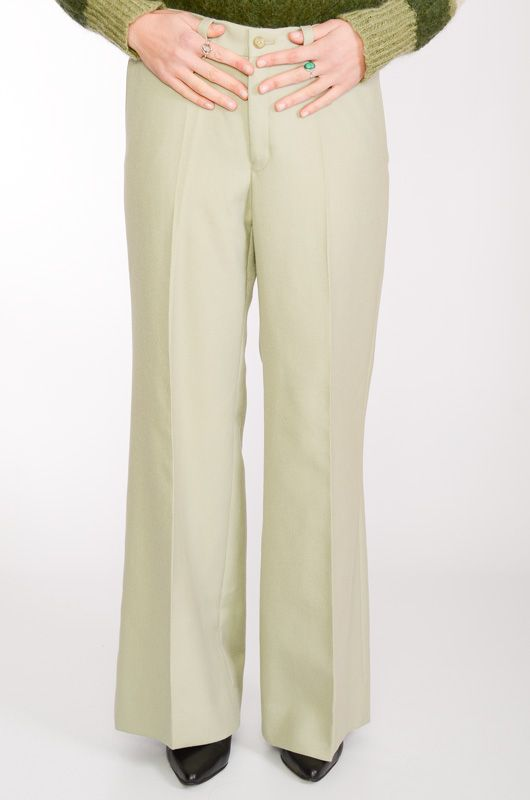 VINTAGE TROUSERS 60-70S BELL BOTTOM LIGHT GREEN TERGAL - 6