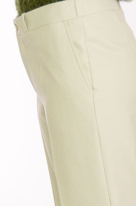 VINTAGE TROUSERS 60-70S BELL BOTTOM LIGHT GREEN TERGAL - 3