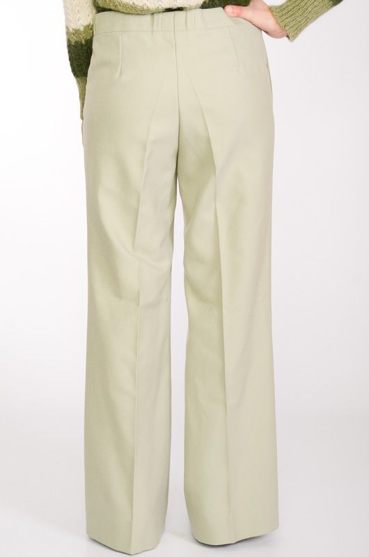 VINTAGE TROUSERS 60-70S BELL BOTTOM LIGHT GREEN TERGAL - 4