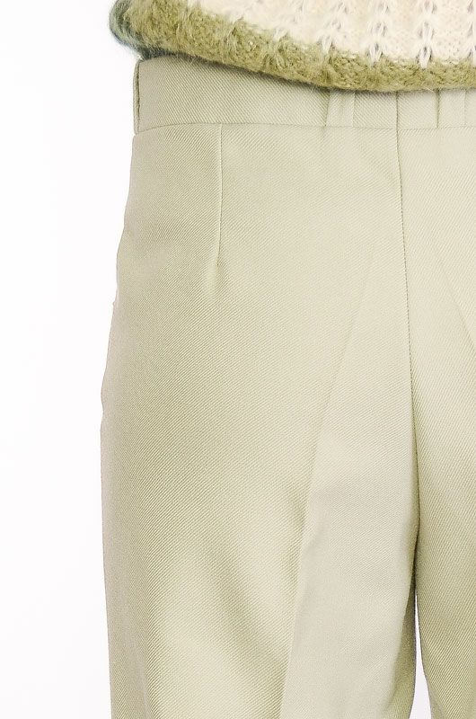 VINTAGE TROUSERS 60-70S BELL BOTTOM LIGHT GREEN TERGAL - 5
