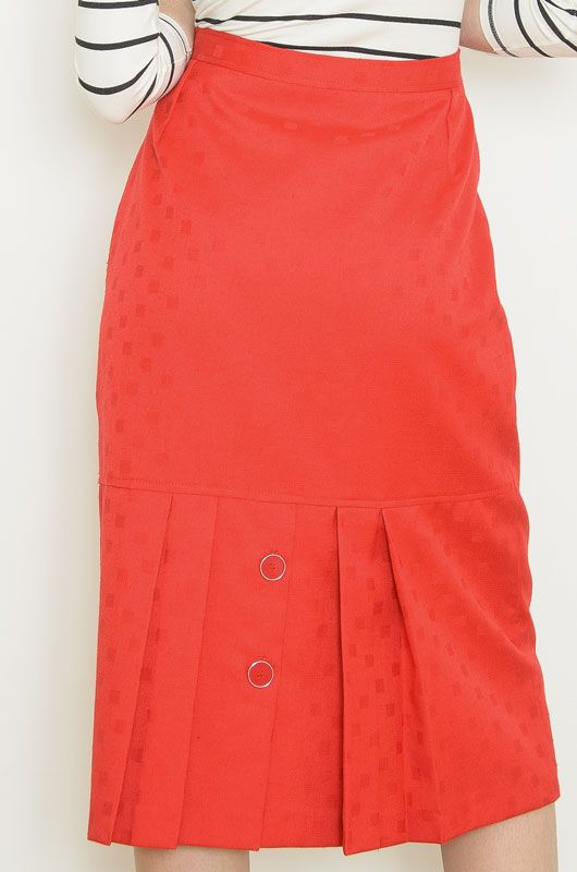 Vintage Skirt 70s Red Drawn - 1