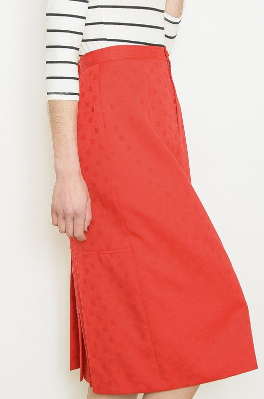 Vintage Skirt 70s Red Drawn - 3