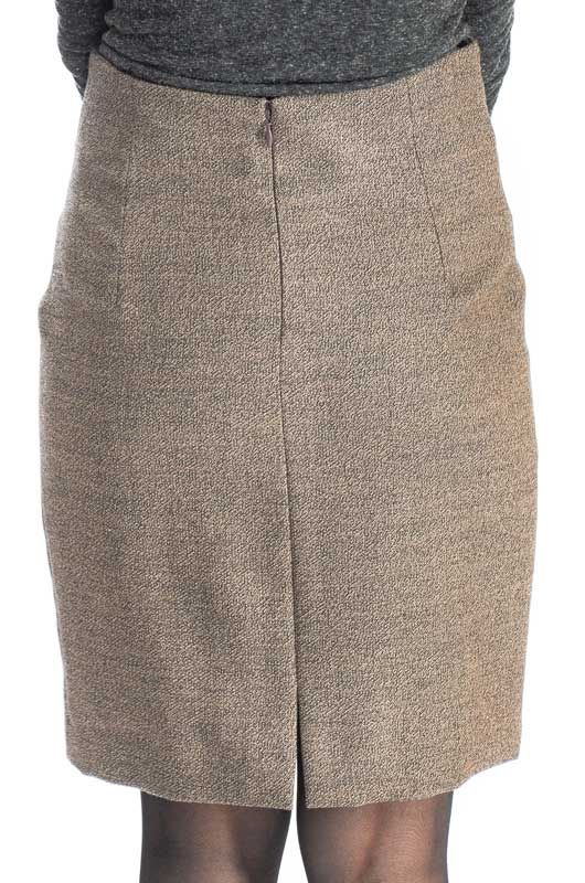 Vintage 90s Pencil Buttons Brown Mix Skirt Size S - 3