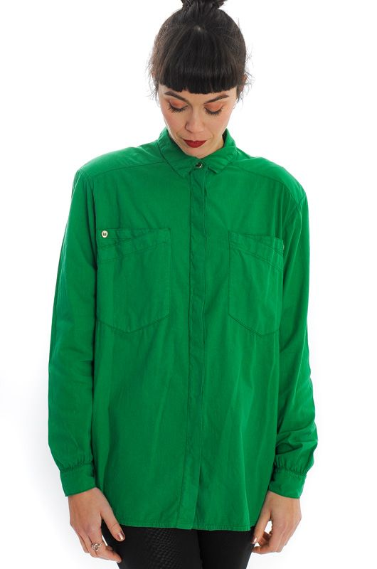 VINTAGE 80S GREEN COTTON SHIRT OVERSIZE - 3