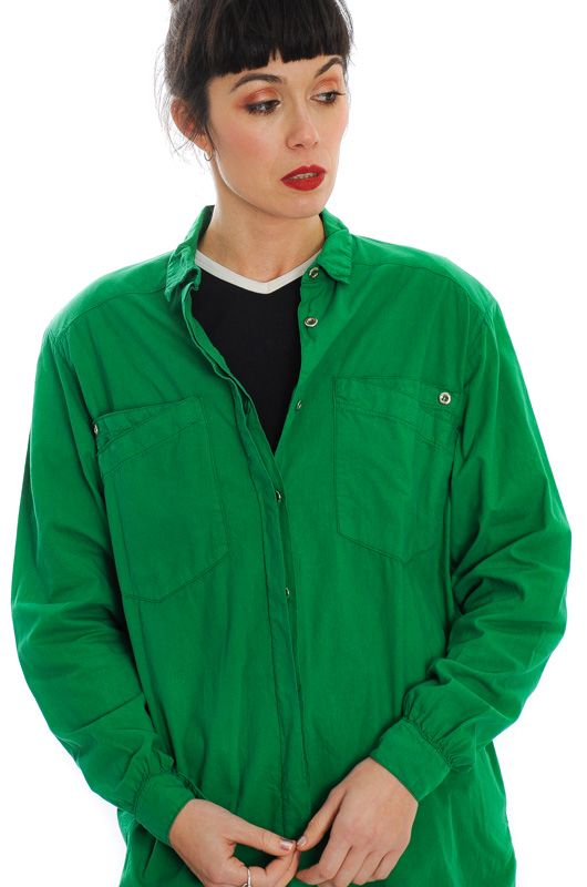 VINTAGE 80S GREEN COTTON SHIRT OVERSIZE - 4