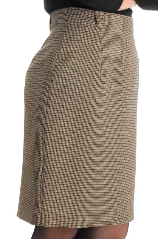 Vintage 90s Classic Pencil Checkered Brown Skirt Size M - 2