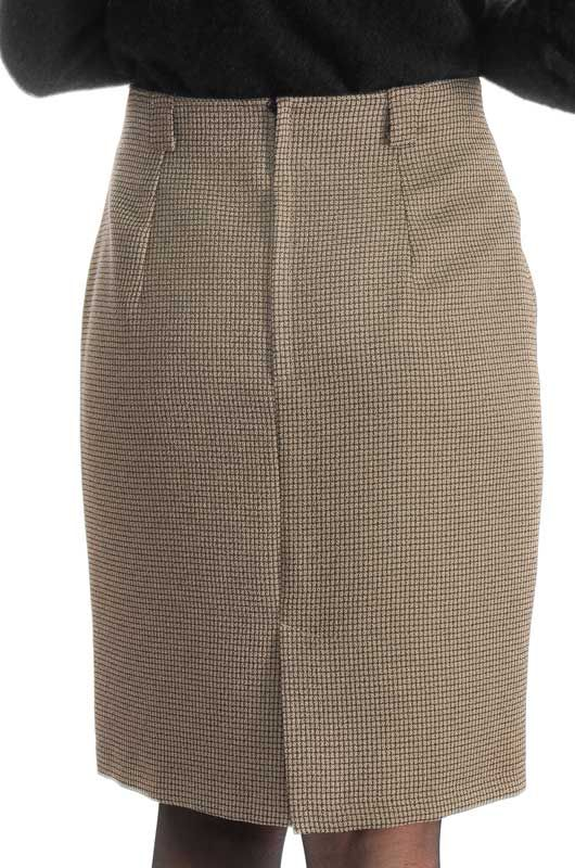 Vintage 90s Classic Pencil Checkered Brown Skirt Size M - 3