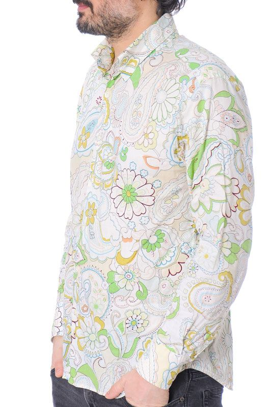 Camisa Vintage 60s 70s Flower Power Algodón Colorful Talla XL - 1