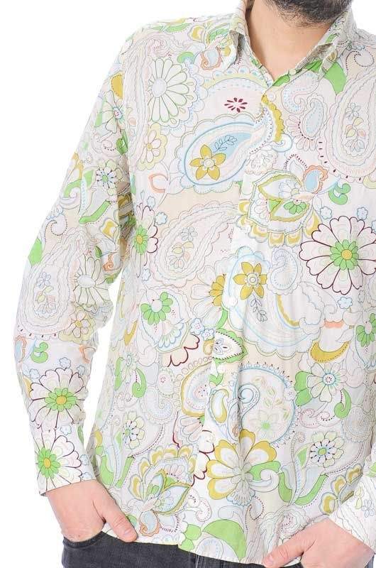 Camisa Vintage 60s 70s Flower Power Algodón Colorful Talla XL - 2