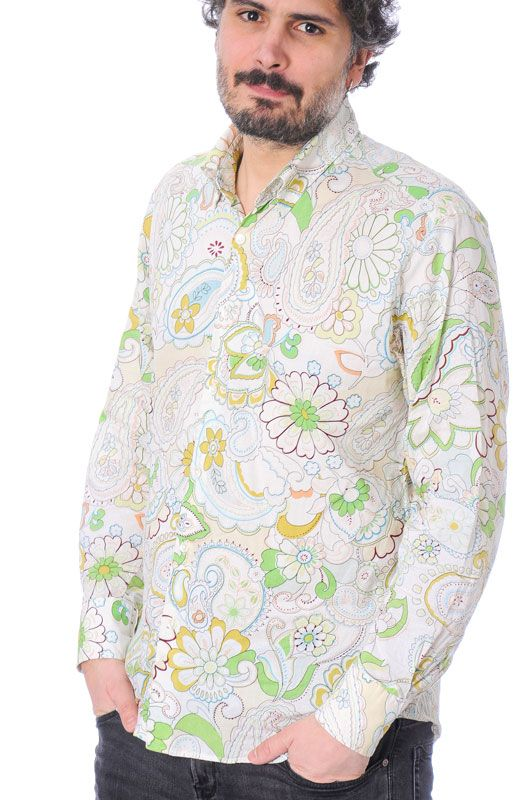 Camisa Vintage 60s 70s Flower Power Algodón Colorful Talla XL - 3