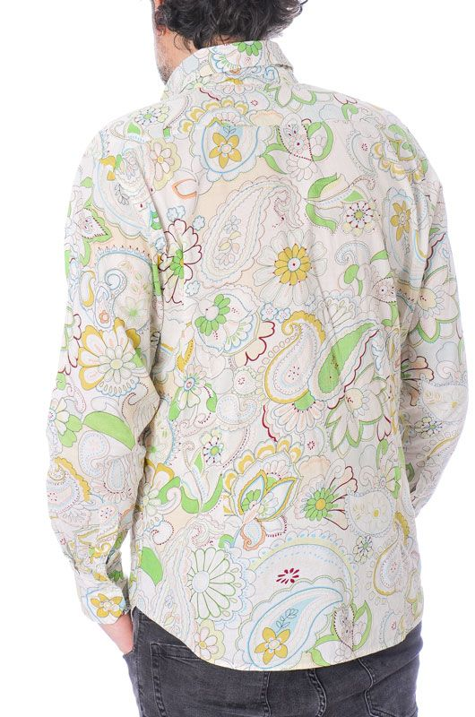 Camisa Vintage 60s 70s Flower Power Algodón Colorful Talla XL - 4
