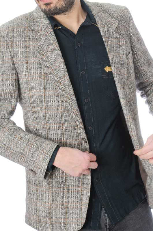 TWEED CLASSIC VINTAGE GRAY JACKET SIZE L - 1
