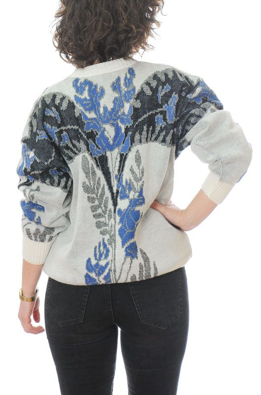 Vintage 80s 90s Floral Abstract White Sweater Oversize Size M - 4