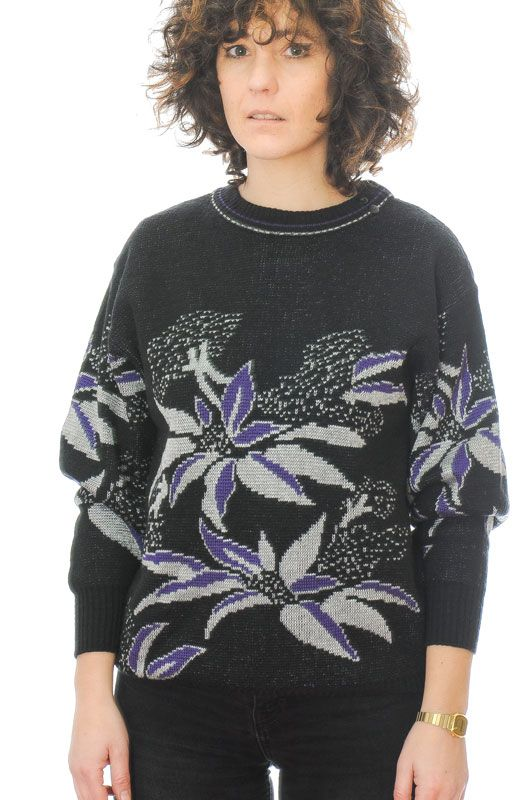 JERSEY VINTAGE 80S 90S FLORAL ABSTRACTO NEGRO OVERSIZE TALLA S - 2