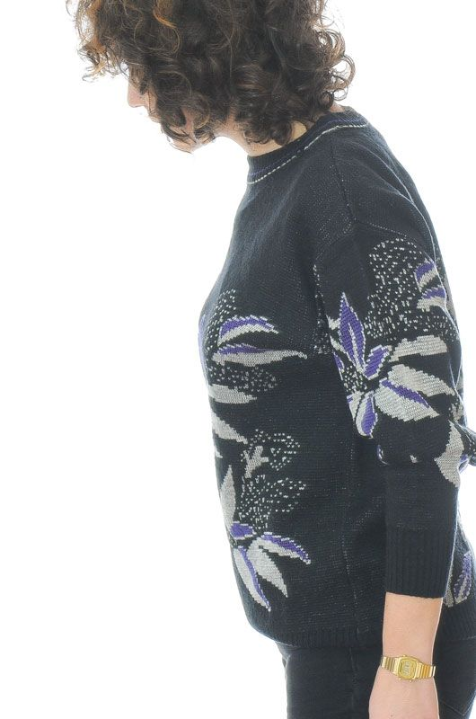JERSEY VINTAGE 80S 90S FLORAL ABSTRACTO NEGRO OVERSIZE TALLA S - 1