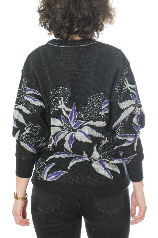 JERSEY VINTAGE 80S 90S FLORAL ABSTRACTO NEGRO OVERSIZE TALLA S - 3