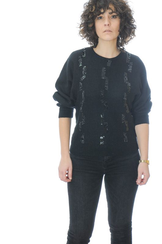 Knitted Vintage 80s Black Sequins Sweater Size S - 1