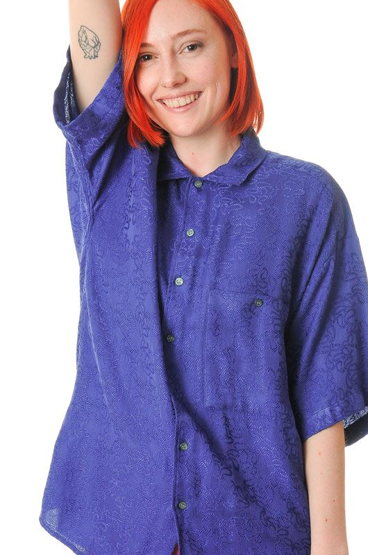 Vintage 90s Blue Embroidered Paisley Unisex Shirt Oversize Size M - 3063 c3c4163ef