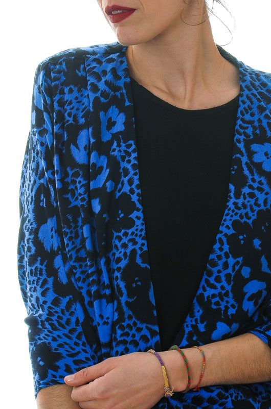 Vintage 80s Bat Draped Blue Blouse Size M - L - 2